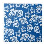 Hawiian Blue Flower Pattern Ceramic Tile