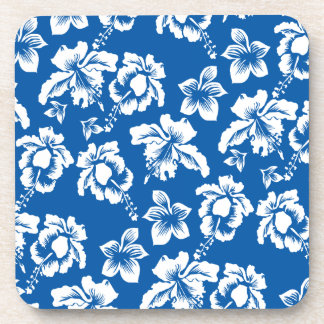 Hawiian Blue Flower Pattern Drink Coaster