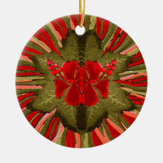 Hawiian Fantasy Christmas Flower (Personalized) Ceramic Ornament