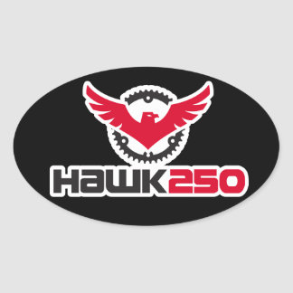 Hawk 250 Logo Black Background Oval Sticker