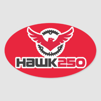 Hawk 250 Logo Red Background Oval Sticker
