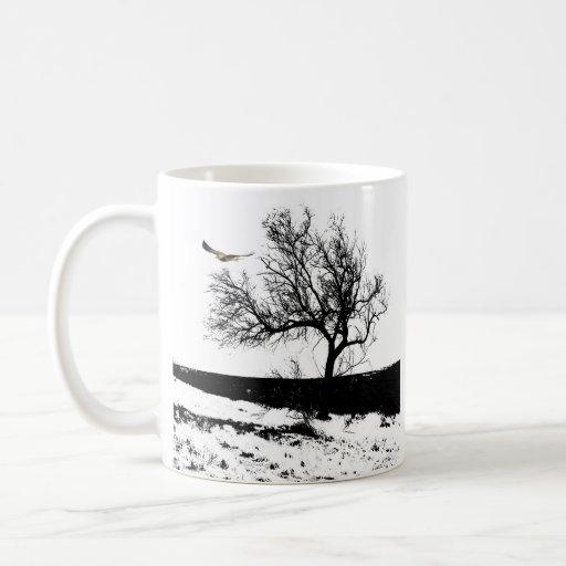 Hawk and tree mug