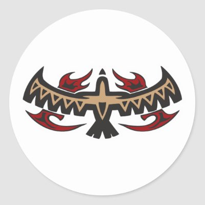 Hawk Eagle Tribal Tattoo Round Stickers by doonidesigns