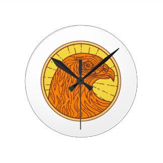 Hawk Eye Side Circle Mono Line Round Clock