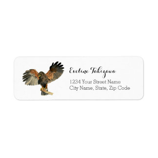 Hawk Flapping Wings Watercolor Painting Label