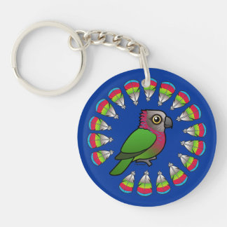 Hawk-headed Parrot Feather Circle Double-Sided Round Acrylic Keychain