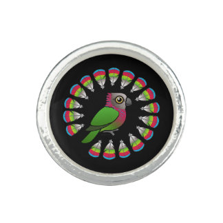Hawk-headed Parrot Feather Circle Rings