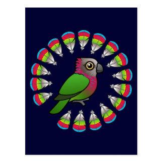Hawk-headed Parrot Feather Circle Postcard