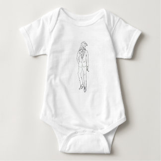 Hawk in business suit smoking drawing baby bodysuit