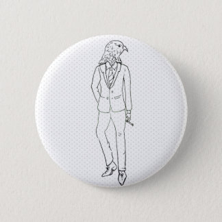 Hawk in business suit smoking drawing button