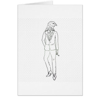 Hawk in business suit smoking drawing card