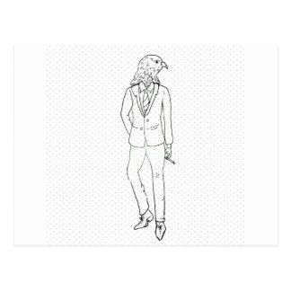 Hawk in business suit smoking drawing postcard