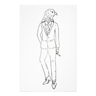 Hawk in business suit smoking drawing stationery