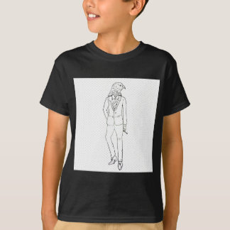 Hawk in business suit smoking drawing T-Shirt