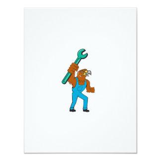 Hawk Mechanic Standing Pipe Spanner Cartoon Card