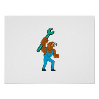 Hawk Mechanic Standing Pipe Spanner Cartoon Poster