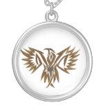 Hawk necklace round pendant necklace