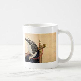 Hawk on a ceremonial stand by Katsushika Hokusai Coffee Mug