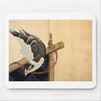 Hawk on a ceremonial stand by Katsushika Hokusai Mouse Pad