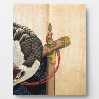 Hawk on a ceremonial stand by Katsushika Hokusai Plaque