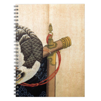 Hawk on a ceremonial stand by Katsushika Hokusai Spiral Notebook