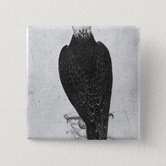 Hawk on hand pinback button