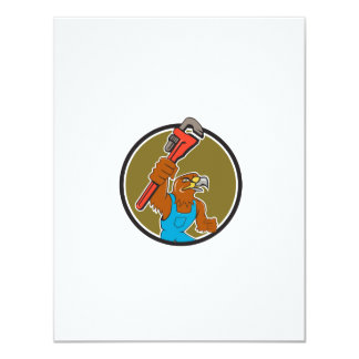 Hawk Plumber Wrench Circle Cartoon Card