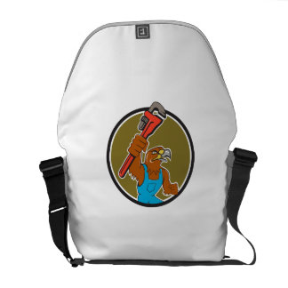 Hawk Plumber Wrench Circle Cartoon Messenger Bag