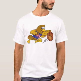 Hawk School Mascot Playing Basketball T-Shirt