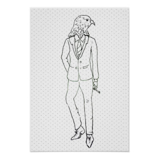 Hawk smoking in business suit drawing poster