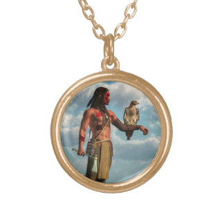 Hawk Warrior Gold Plated Necklace