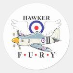 hawker fury caricature round sticker