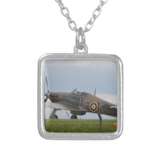 Hawker Hurricane Three Quarter View Silver Plated Necklace