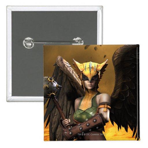 Hawkgirl 2 Inch Square Button