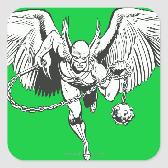 Hawkman Flying Outline Square Sticker