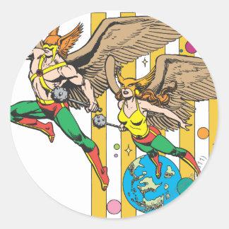 Hawkman & Hawkwoman Round Stickers