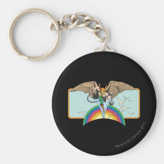 Hawkman vuela a través del cielo llavero redondo tipo pin
