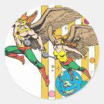 Hawkman y Hawkwoman Pegatina Redonda