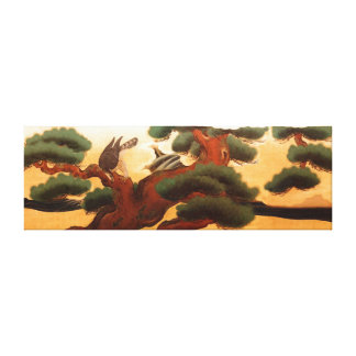 Hawks and Pine Trees by Kano Tanyu Canvas Print