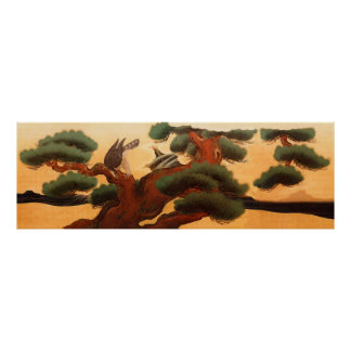 Hawks and Pine Trees by Kano Tanyu Posters