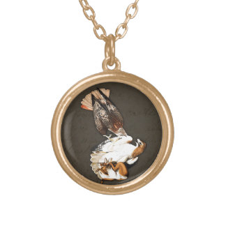 Hawks Hunt Vintage Round Pendant Necklace