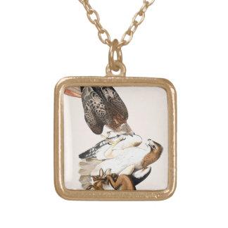 Hawks Hunt Vintage Square Pendant Necklace
