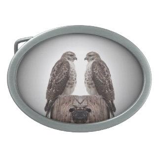 Hawks on a post oval belt buckle