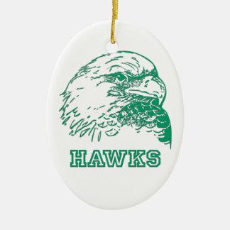 Hawks White Oval Christmas Ornaments