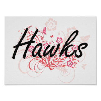 Hawks with flowers background poster