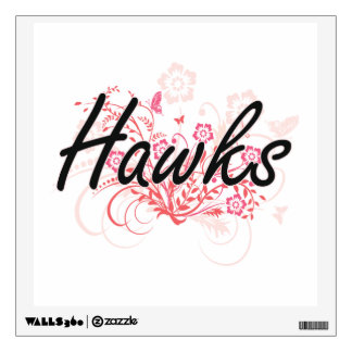 Hawks with flowers background wall decal