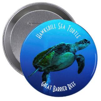 Hawksbill Sea Turtle Great Barrier Reef Coral Sea Pinback Button