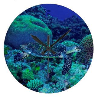Hawksbill Sea Turtle on the Great Barrier Reef Large Clock