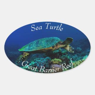 Hawksbill Sea Turtle on the Great Barrier Reef Oval Sticker