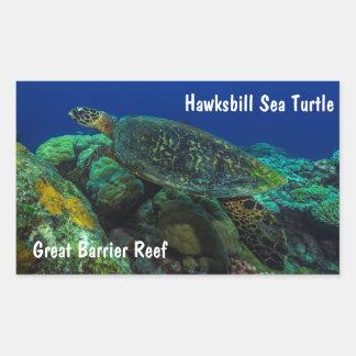 Hawksbill Sea Turtle on the Great Barrier Reef Rectangular Sticker
